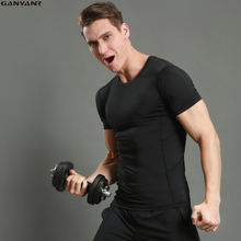 GANYANR Brand Running T Shirt Men Compression Tights Sport Suit Athletic Sportswear Dry Fit Short Sleeve Sports Fitness Gym 2017