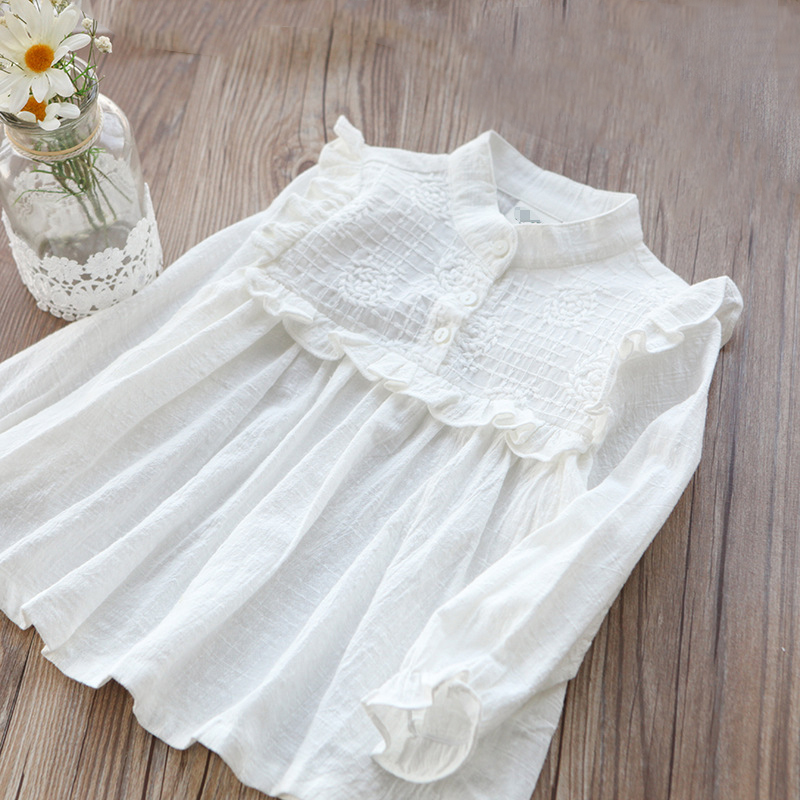 Cotton White Girls   Blouses   Solid   Shirts   for Girls Long Sleeve Kids baby   Shirts   baby clothes Spring Autumn children clothing