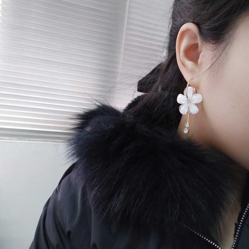 SUKI nouveau coréen 6 pétales acrylique Zircon gland boucles d'oreilles Brincos OorbellenTransparent boucles d'oreilles en gros femmes boucles d'oreilles