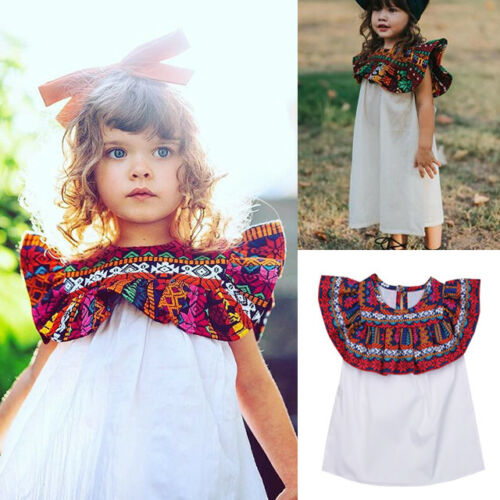Emmababy Kids Baby Girls Dress Mexico Boho Floral Party Dress Ruffles Sleeve Dress Clothes