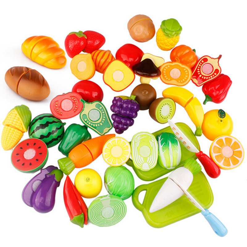 Hot Sale Plastic Kitchen Food Fruit Vegetable Cutting Kids Pretend Play Educational Toy Safety Children Kitchen Toys Sets #2
