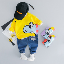 אופנה תינוק ילד Cartoon בגדי סט 2019 אביב בגדים לפעוטות דינוזאור T חולצה + מכנסיים תלבושת 1 2 3 4 שנים