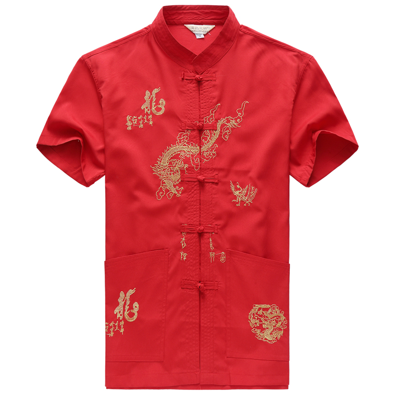 Embroidery Chinese Clothing For Men Short Sleeve Shirt Chinese Traditional Cotton Kung Fu Clothing Tang Suit Men Chinese Tops-in Tops from Novelty & Special Use on Aliexpress.com | Alibaba Group