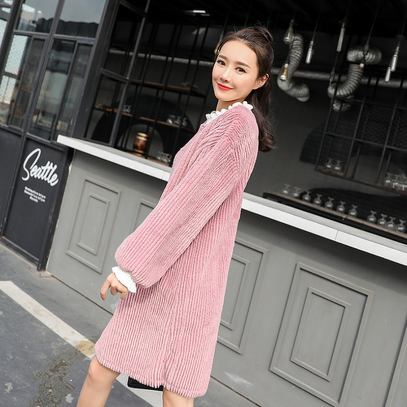 Plus Size Pink Maternity Dresses Autumn Winter Thicken Maternity Clothes Dress for Pregnant Women Cute Women Party Clothing стоимость