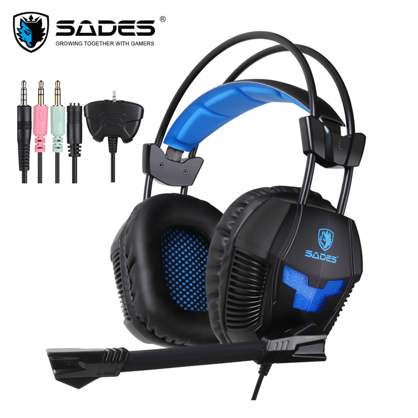 SADES SA-921 Gaming Headset PS4 with Microphone Stereo Headphones for Xbox 360/MAC/PSP/Laptop PC Gamer with Splitter Adapter