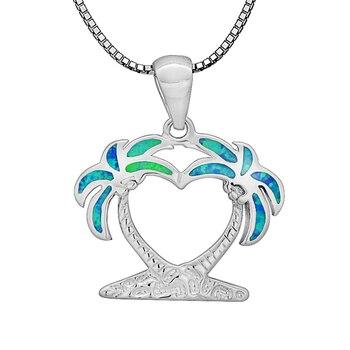 Wholesale & Retail Fashion Jewelry Fine Blue Fire Opal Stone Coconut tree Sliver Pendants For Women PJ17091305