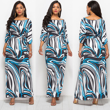 New hot fashion personality casual loose female sexy striped high waist wide leg printing fat MM dress