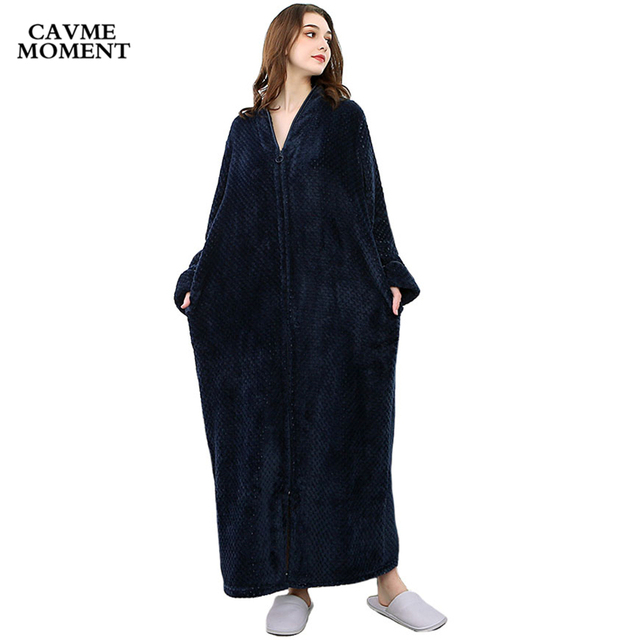 Cavme Plus Size Flannel Bathrobe Winter Robe Night Dressing Gown