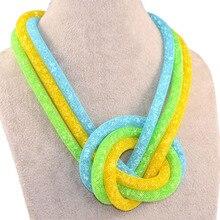 Oferta especial de moda collares hechos a mano con pequeño cristal de la resina collar para los regalos de las mujeres nudo grande collares