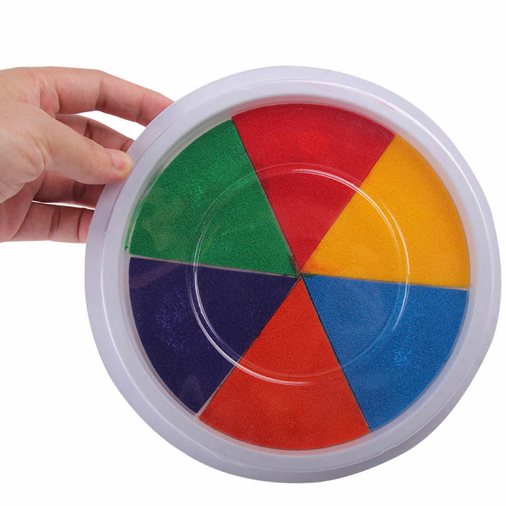 6 cores diy tinta almofada selo dedo pintura artesanato cardmaking grande redondo para crianças criança criatividade imaginação educação # k12