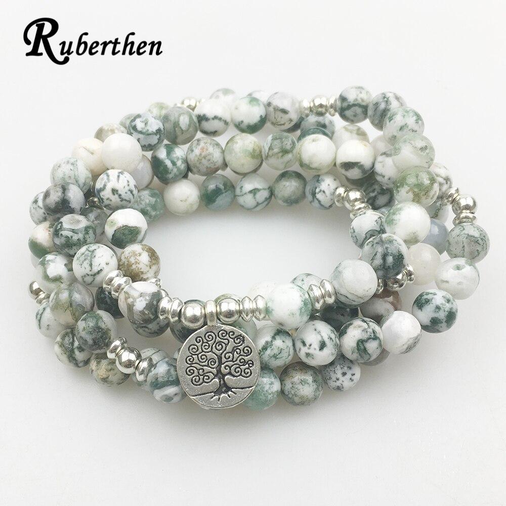 Ruberthen Neue Design 108 Mala Yoga Armband Frauen Naturstein Baum des Lebens Schmuck Meditation Baum Muster Stein Armband