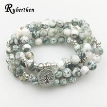 Ruberthen New Design 108 Mala Yoga Bracelet  Women Natural Stone Tree of Life Jewelry Meditation Tree Pattern Stone Bracelet