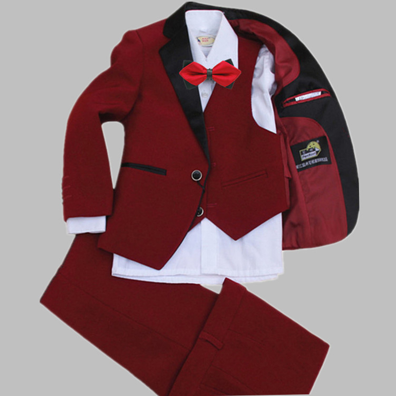 Children's Set Piano Performance Dresses Boy Fashion Suit Boys Moderator Dress Up Dress Up 4pcs / Set moderator