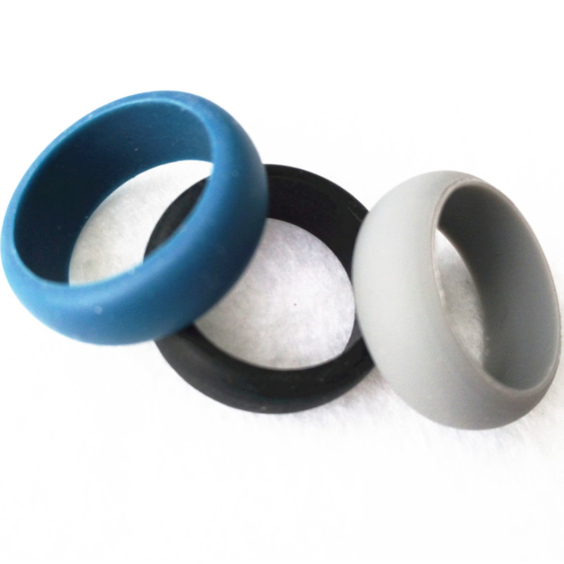 Fashion Women Mens Silicone Wedding Ring Set Black Grey Blue