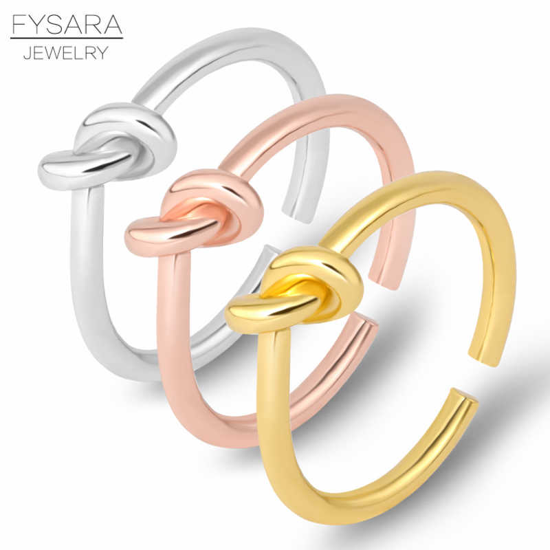 FYSARA Luxury Brand Opening Knot Ring For Women Men Adjustable Finger Ring Couple Thumb Love Ring Wedding Engagement Jewelry
