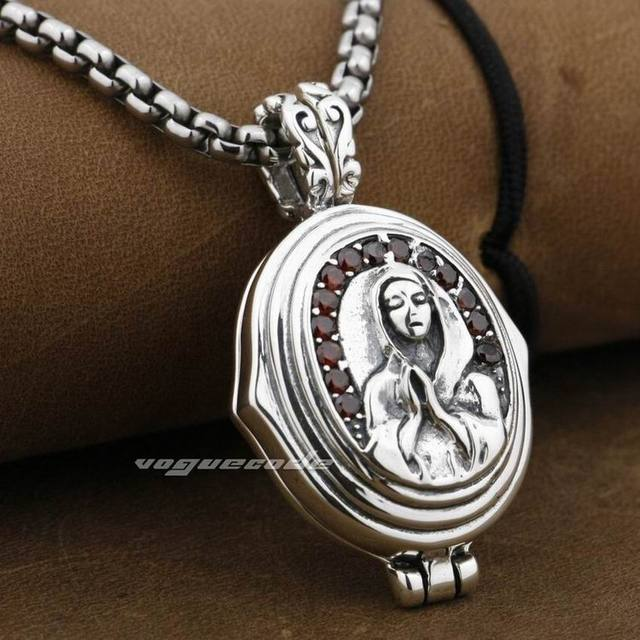 LINSION 925 Sterling Silver Openable Virgin Mary JESUS Red CZ Stone Mens Biker Rock Punk Pendant 9F006