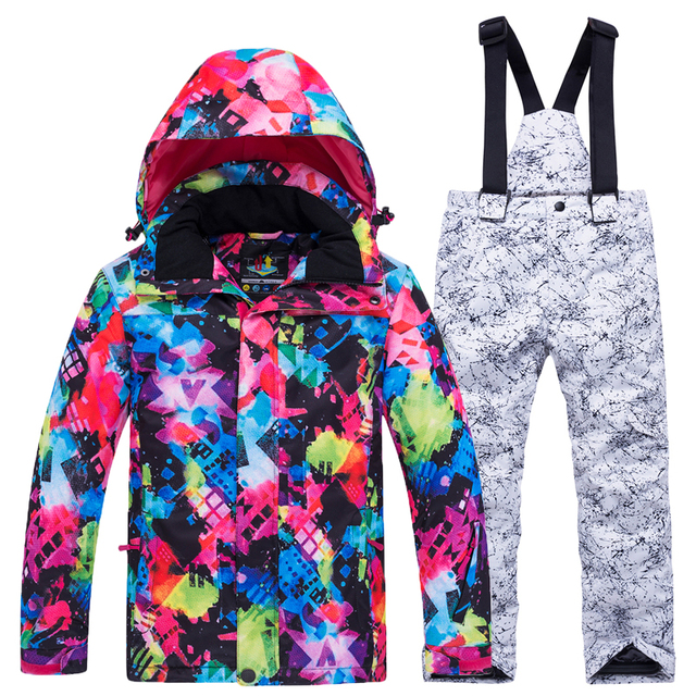 Лыжный костюм для мальчиков и девочек, новинка 2018 года, горячая Распродажа, непромокаемая теплая зимняя одежда, детские лыжные костюмы, лыжная куртка для сноуборда, брюки на-30 градусов