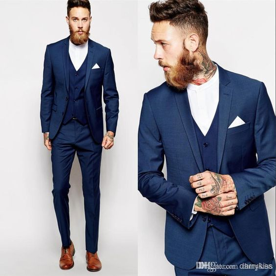 Hot Selling Navy Blue Business Mens Suits 3 Pieces Jacket Pants vest Wedding Tuxedos Groomsmen font