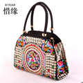 XIYUAN BRAND Pure Handmade Hard Case embroidery ethnic bags women handbag flower cross-body bag over shoulder Lady shopping bags