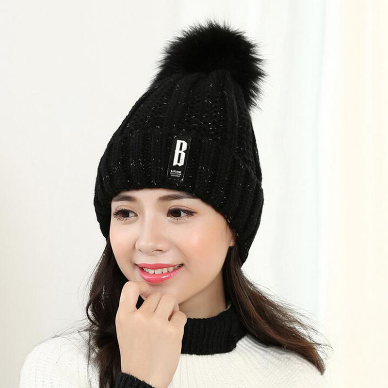 Winter Knit Caps Faux Fur Ball Pom Beanies hats thick Letter Warm skullies  women crochet Gorros Lady winter style Hat Cap-in Skullies   Beanies from  Apparel ... b7ff5922e4d