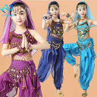 Girls Belly Dance Costumes Set Kids Belly Dancing Suit Indian Dancer Performance Outfits Children Oriental Clothing