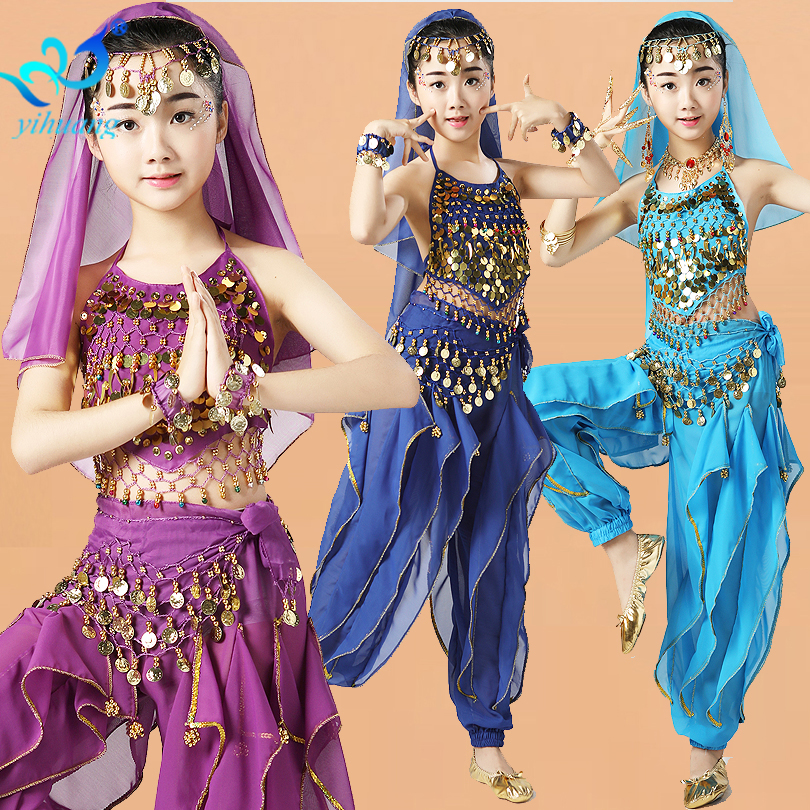 Girls Belly Dancing Costume Set Kids Indian Dance Performance Outfits Children Bellydance Competition Clothing Size S-XL