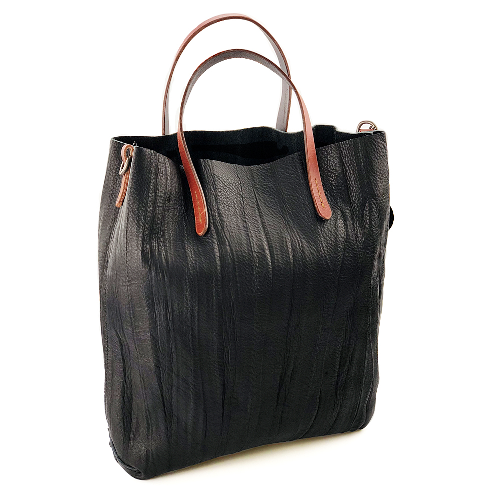 A-Pocket Stylish Genuine Cow Leather Tote Bag with Vegan Leather Shoulder Handbag with Open Top for Women Black open shoulder ruffle trim botanical top