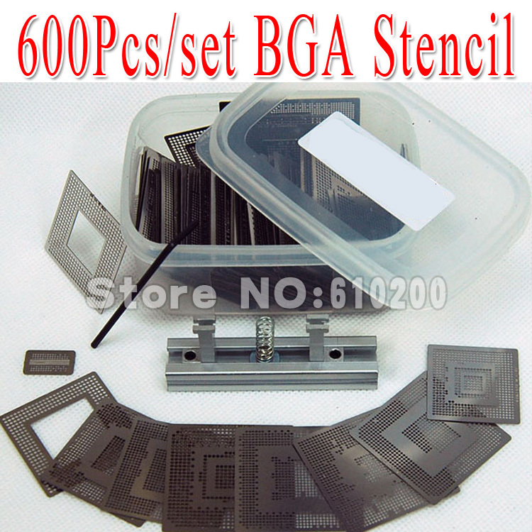 NEW 600pcs/set Bga Stencil +BGA jig direct heating +Box for Bga Reballing Stencil Kit BGA reballing kit 648pcs set direct heating bga stencil bga reballing stencil kit esd tweezers solder balls paste flux bga desoldering wire
