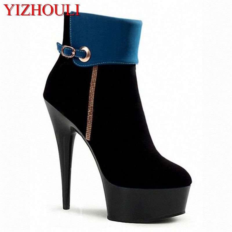 Super high heels 15cm fine with waterproof platform, short boots, water drill banquet, low - tube club dance shoes 15cm club shoes big star with steel tube dancing shoes 34 and 46 yards high with the lacquer that bake single crystal shoes