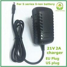 Batería de litio de 21V, taladro eléctrico, adaptador de corriente, cargador con enchufe de la UE y enchufe de EE. UU. Para destornillador eléctrico, llave de buena calidad
