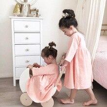 Ins/блузка для девочек из хлопка и льна малыша Платье для малышей Корейская одежда