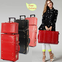 Vintage travel bag universal wheel trolley luggage vintage female red leather case the wedding box picture box,retro luggage set