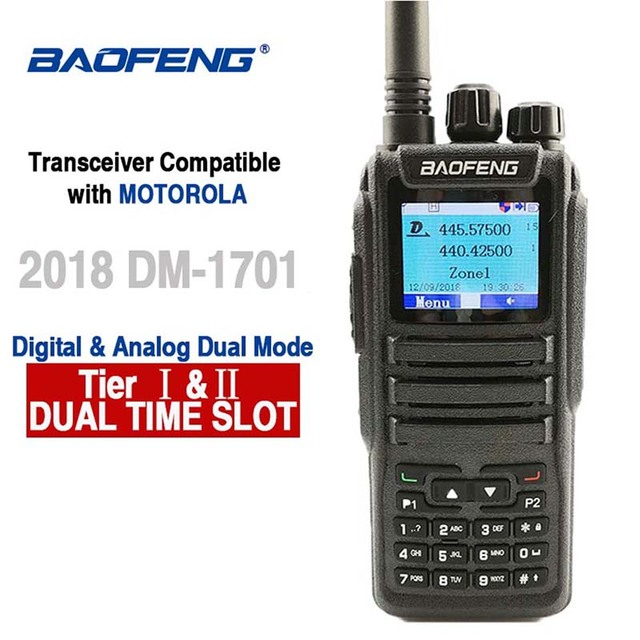 Baofeng DM 1701 Digital Analog Walkie Talkie Dual Band Dual Time Slot DMR Radio Station Two Way Radio Amateurs Transceiver 10 KM