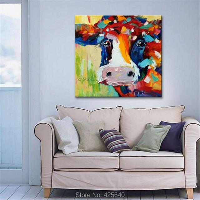 Pintado a mano vaca pintura al óleo sobre lienzo pared cuadros ...