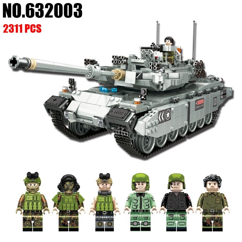NEW PLS Military 632002 632003 1339pcs TYPE 99 Main Battle Tank Building Blocks Bricks enlighten toys for children Compatible 8 in 1 military ship building blocks toys for boys