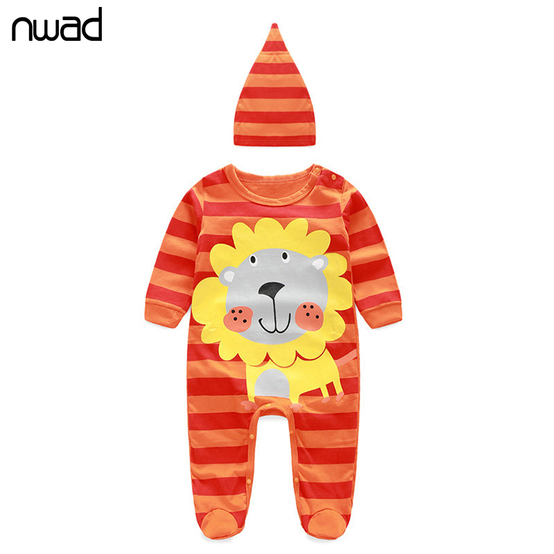 Baby Girl Stripe Rompers 2017 Newborn Cotton Clothing Toddler Boys Cute Animals Printing Long Sleeve Romper With Hat FF037 newborn winter autumn baby rompers baby clothing for girls boys cotton baby romper long sleeve baby girl clothing jumpsuits