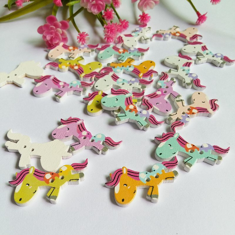 40pcs 25x37mm Mixed horse Painted Wooden decorative Buttons For Sewing Scrapbooking Crafts