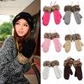 Luvas De Malha Com Forro de Lã das mulheres Inverno Quente Engrossado Luvas de Dedos Completa