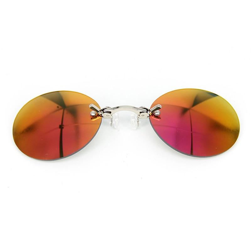 Mini Small Round Clip On Nose Sunglasses Men Vintage Steampunk Coating Mirror Hacker Empire Matrix Morpheus Pince-nez Sunglasses