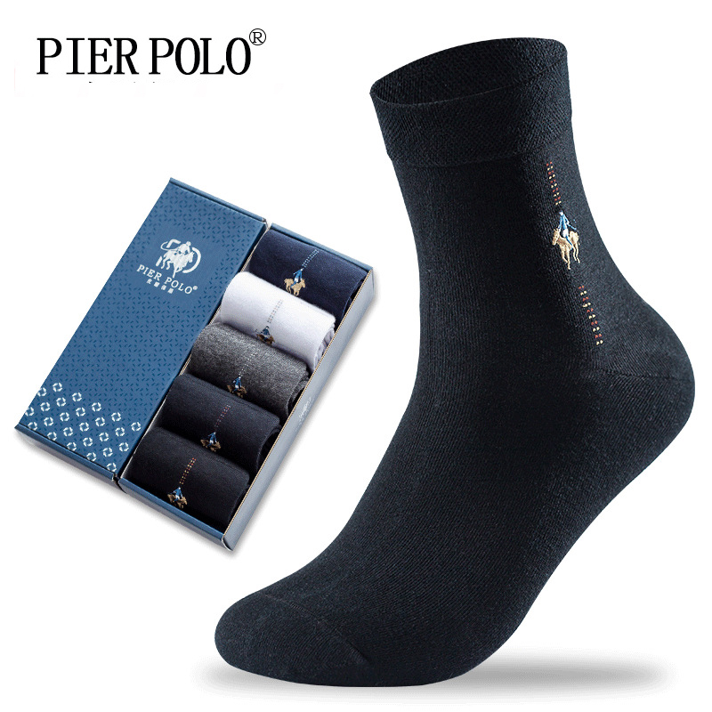 PIER POLO Socks Fashion Brand Crew Cotton Socks Calcetines Hombre Business Male Socks Embroidery Dress Socks Men Gift