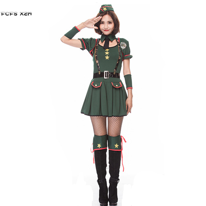 New Arm Green Women Halloween secret agent Costume Female soldier officer uniform Cosplay Purim Christmas Nightclub party dress