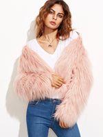 Open Front Fluffy Faux Fur Coat Winter Warm Female Jacket Long Sleeve Parka Hairy Outerwear Fake Fur Pink High Quality Women