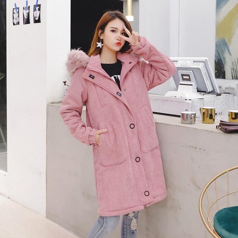 Winter Pink Long   Parka   Women 2019 Big Fur Collar Corduroy Cotton Coat Women Large Size Thick Cotton Jacket Winter Coat Women 5XL