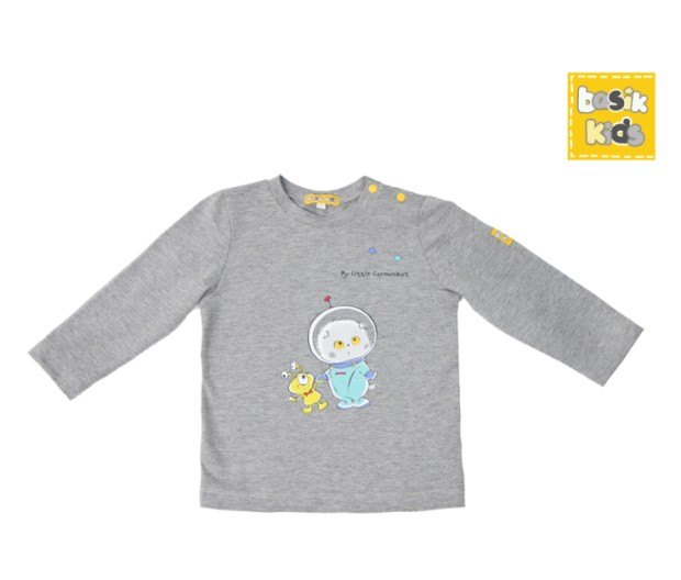 Basik Kids Blouse long sleeve gray melange kids clothes children clothing kids clothes children clothing jumpsuit strip kids clothes children clothing kids clothes children clothing
