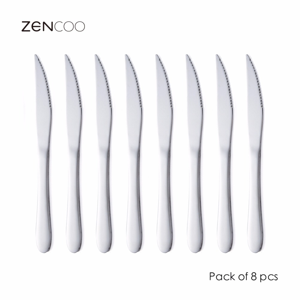 Industrial Kitchen Knives: ZENCOO Stainless Steel Steak Knives 9 Inches Set Of 8 For