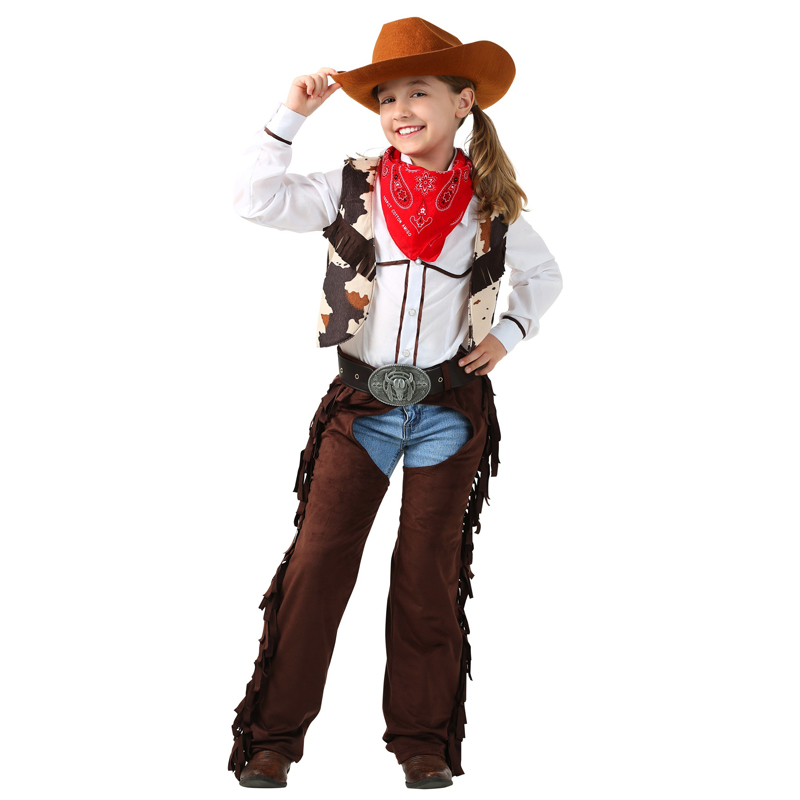 Child Cowgirl Chaps Costume 6pcs/set Cosplay Saddling Costumes Holiday Role Playing Clothing Costum|Girls Costumes|Novelty & Special Use - AliExpress