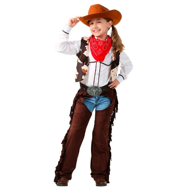Rachaduras Cowgirl criança Traje 6 pçs set Cosplay Role Playing Trajes Do  Feriado Sobrecarregar Roupas 0905551cb1e