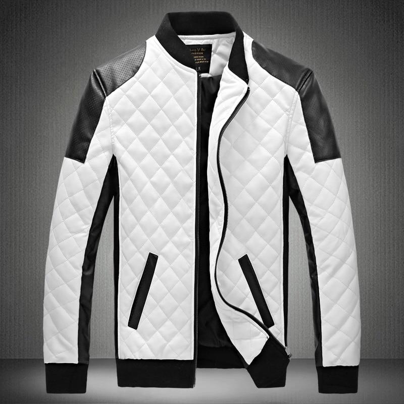 Hommes vestes et manteaux Veste Homme 2019 Veste hommes Patchwork Pu cuir col montant Hit couleur Machine vêtements grande taille 6XL