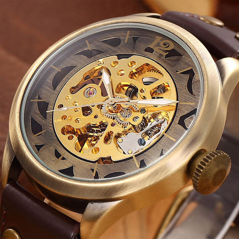 Brand Clock men Skeleton mechanical Watch men automatic self wind Vintage luxury quality gift Steampunk New ks black skeleton gun tone roman hollow mechanical pocket watch men vintage hand wind clock fobs watches long chain gift ksp069