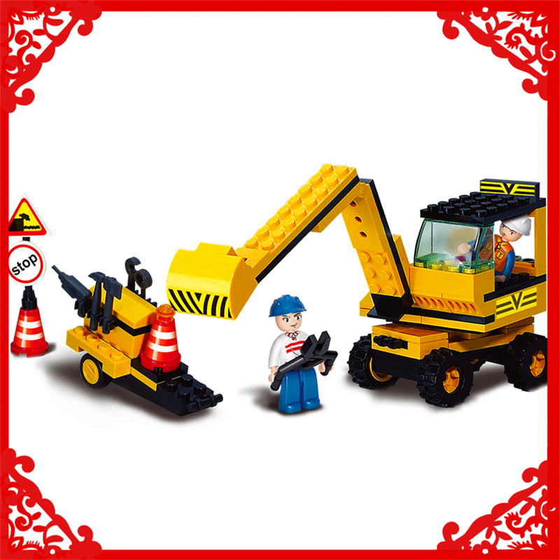 SLUBAN 9600 Block Excavator Digger Machine Model 106Pcs DIY Educational  Building Toys Gift For Children Compatible Legoe sluban 2500 block vehicle maintenance repair station 414pcs diy educational building toys for children compatible legoe
